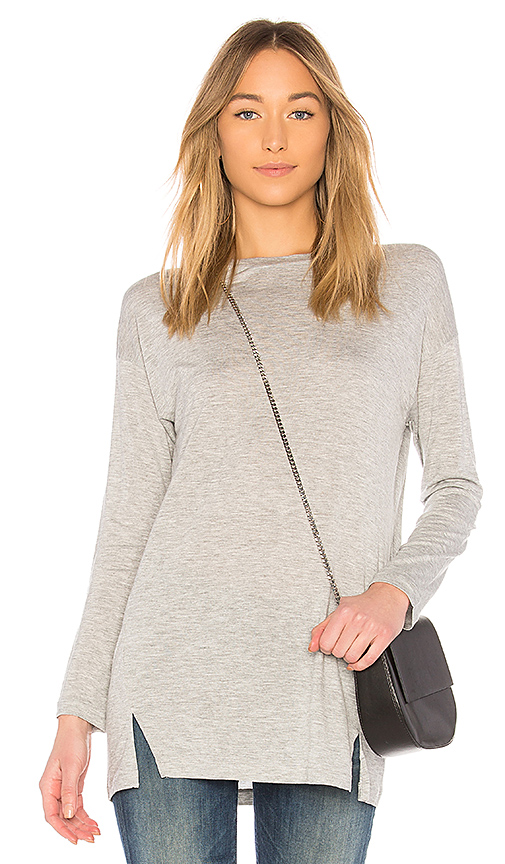 Vince Long Sleeve Drapey Top in Light Gray