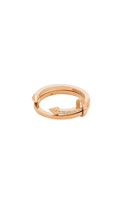 Vita Fede Super Ultra Mini Titan & Crystal Band Ring in Metallic Copper. - size 6 (also in 7)