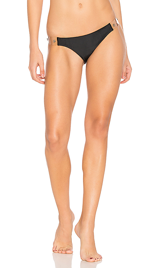 Vix Swimwear Solid Vinyl Detail Bottom in Black