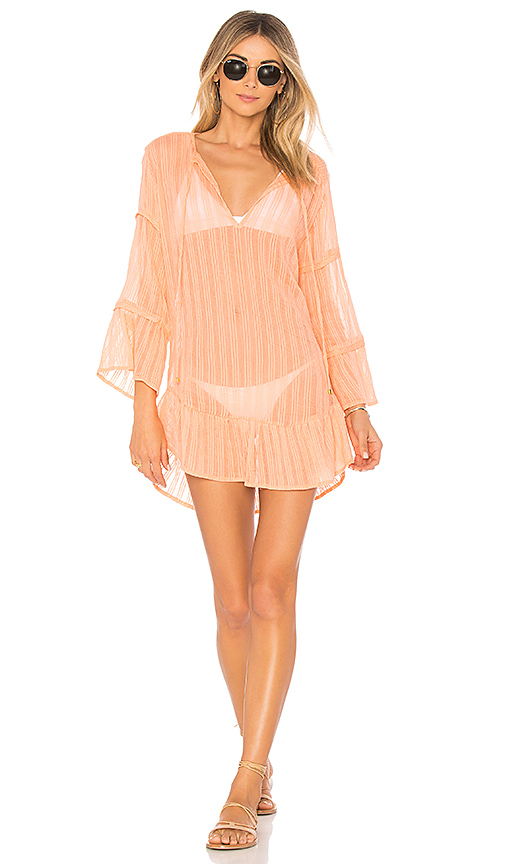 Vix Swimwear Ruffle Tunic in Coral