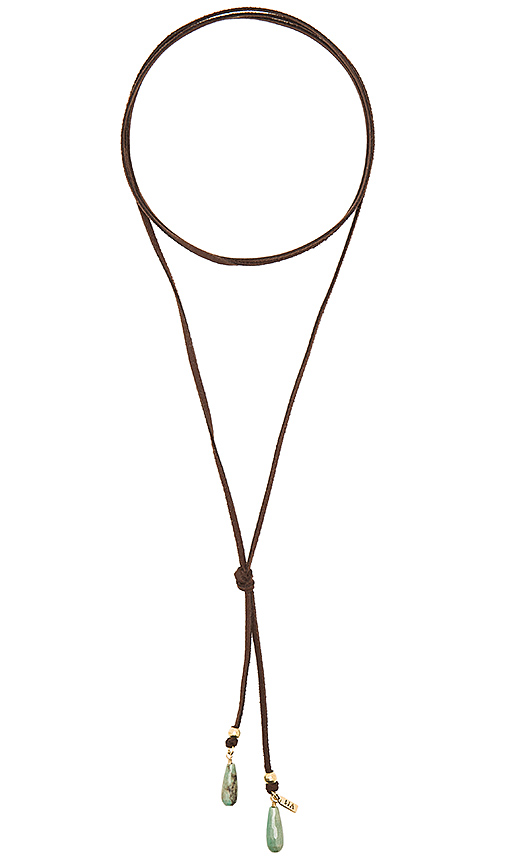 Vanessa Mooney Bolo Green Stone Necklace in Brown.