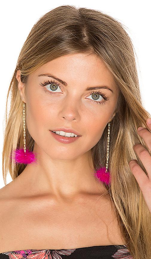 Vanessa Mooney Decades Pom Pom Earrings in Metallic Gold