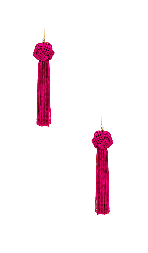 Vanessa Mooney The Astrid Knotted Tassel Earring in Fuchsia
