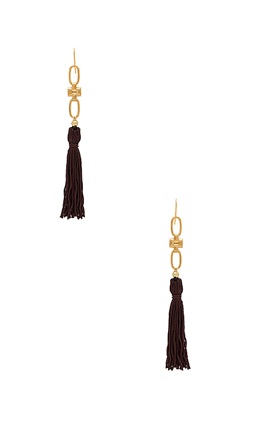 Vanessa Mooney The Faith Tassel Earring in Chocolate Brown