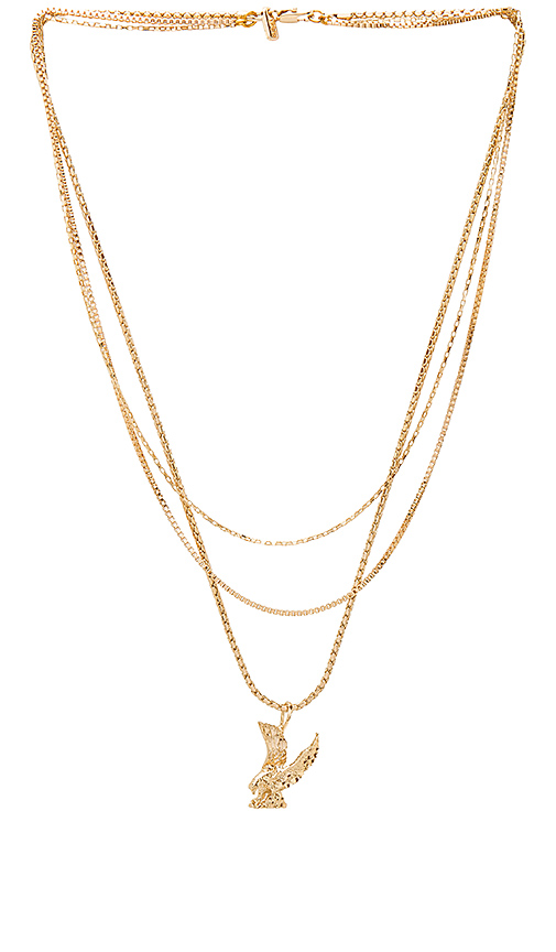 Vanessa Mooney Lopes Eagle Triple Chain Necklace in Metallic Gold