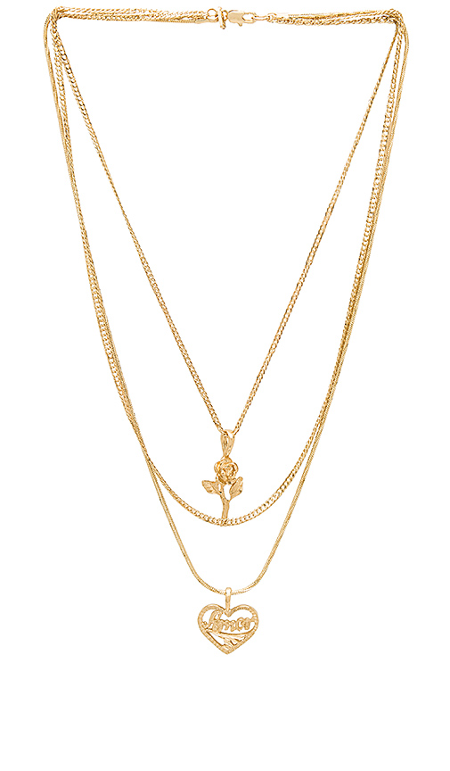 Vanessa Mooney Cielo Rose & Amor Layered Necklace in Metallic Gold