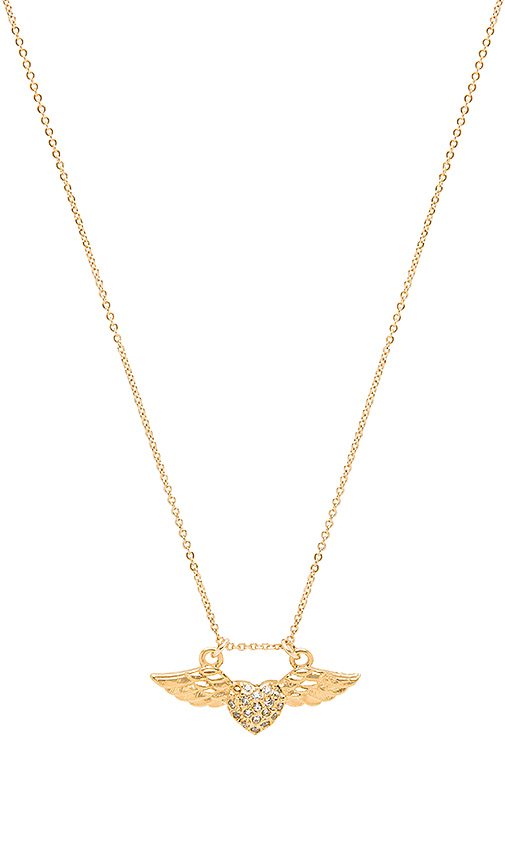 Vanessa Mooney Amante Winged Heart Necklace in Metallic Gold