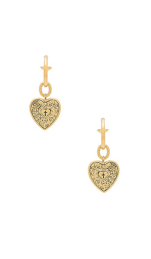 Vanessa Mooney The Angelica Heart Hoop Earrings in Metallic Gold