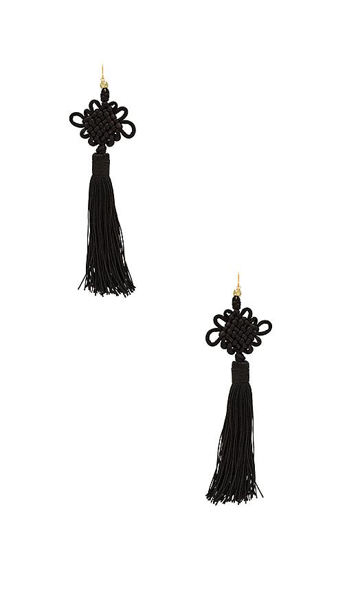 Vanessa Mooney The Chinese Good Luck Tassel Earrings in Black
