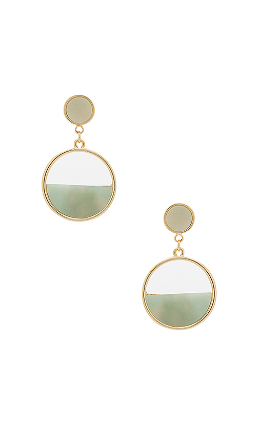 Wanderlust + Co Semi Circle Gold & Mint Earrings in Metallic Gold