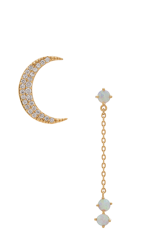 Wanderlust + Co Crescent Gold & Opal Drop Earring in Metallic Gold