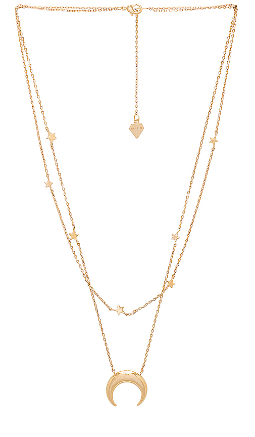 Wanderlust + Co Crescent & Constellation Necklace in Metallic Gold