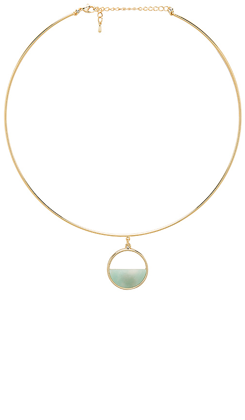 Wanderlust + Co Semi Circle Necklace in Metallic Gold