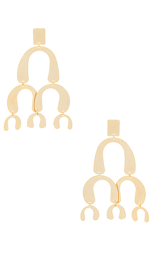 Wanderlust + Co Spectrum Chandelier Earrings in Metallic Gold