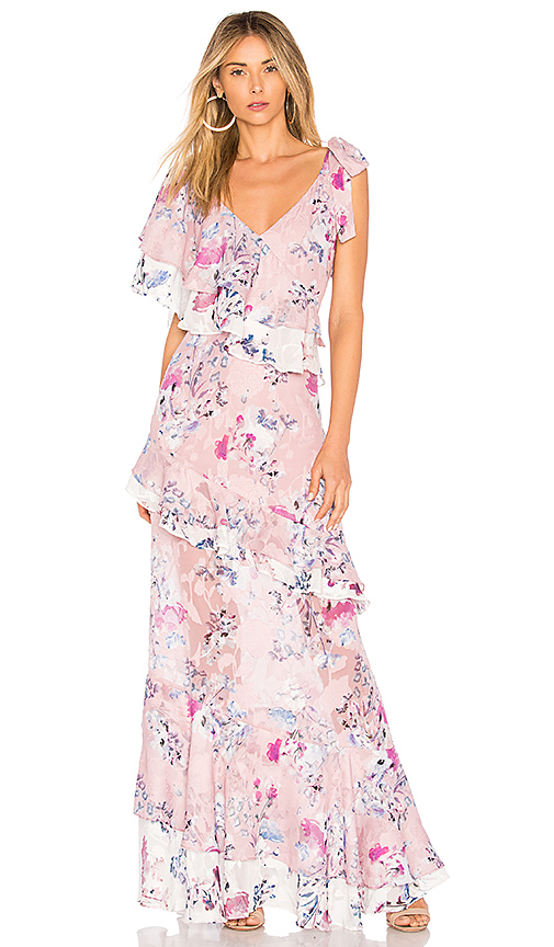 We Are Kindred Alessandra Ruffle Maxi in Pink