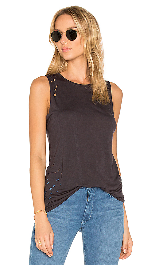 Weslin + Grant The Brix Distressed Muscle Tank in Black