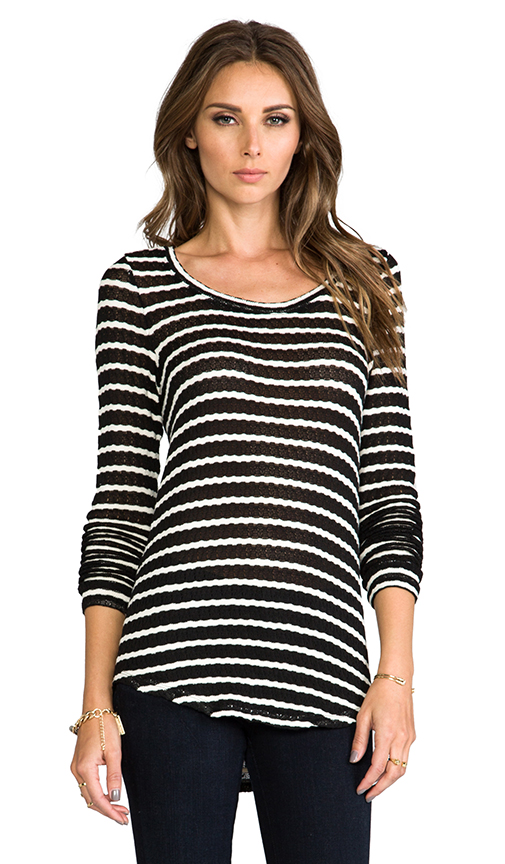 Whetherly Rib Stripe Rosewood Top in Black at Revolve Clothing