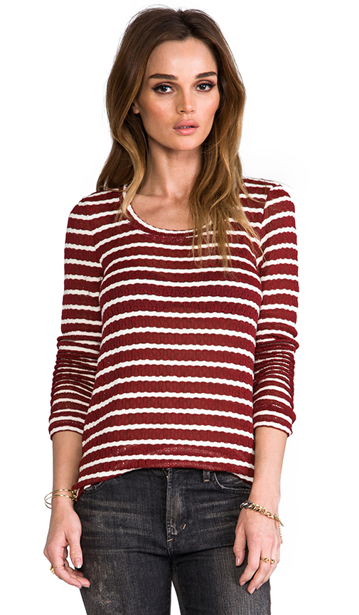 Whetherly Rib Stripe Rosewood Top in Wine at Revolve Clothing