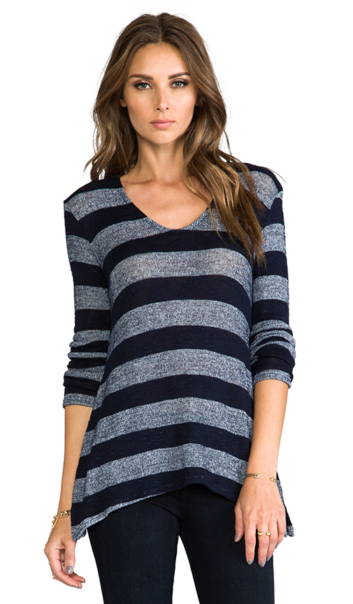 Whetherly Boucle Stripe Ezra Long Sleeve in Navy at Revolve Clothing