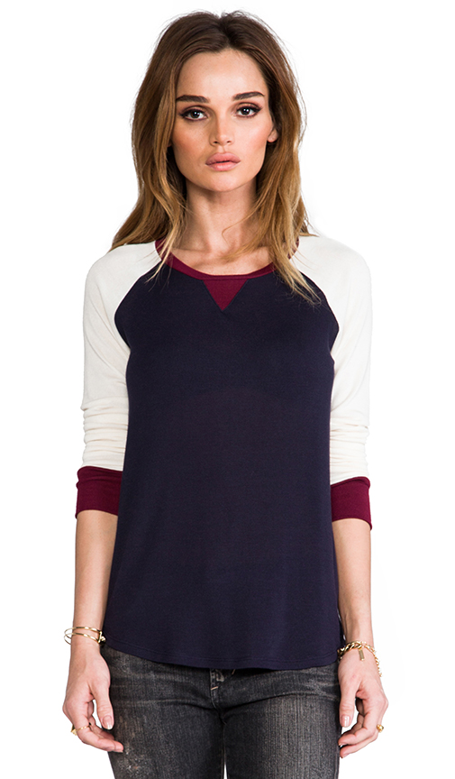 Whetherly Colorblock Jade Baseball Tee in Navy at Revolve Clothing