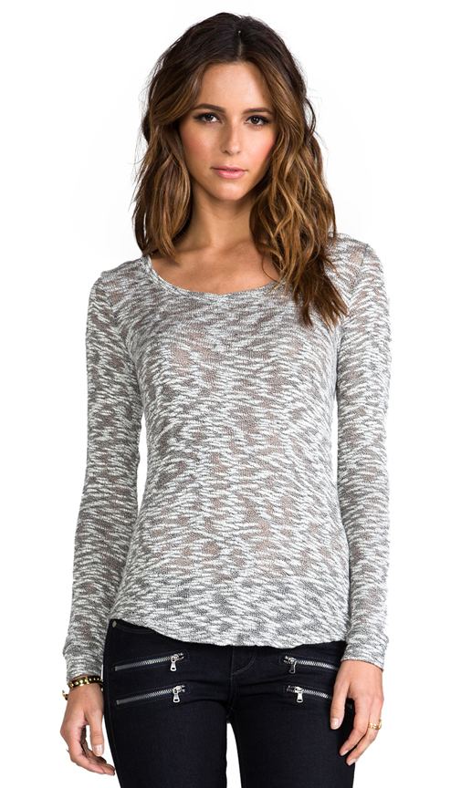 Whetherly Sheer Boucle Rosewood Long Sleeve Tee in Gray at Revolve Clothing
