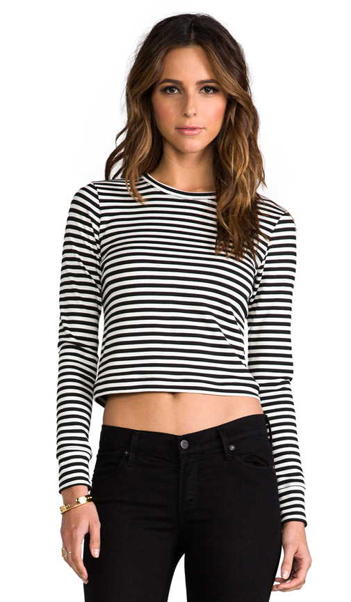 Whetherly Audrey Stripe Long Sleeve Tee in Black at Revolve Clothing