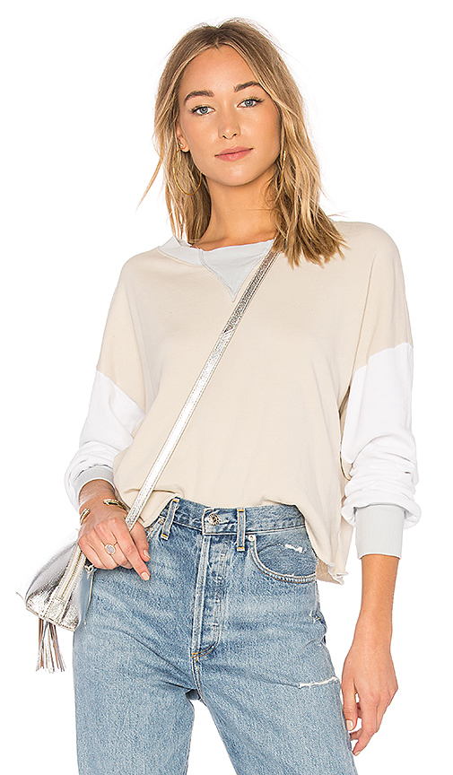 Wildfox Couture Colorblock Sweatshirt in Gray. - size L (also in M,S,XS)