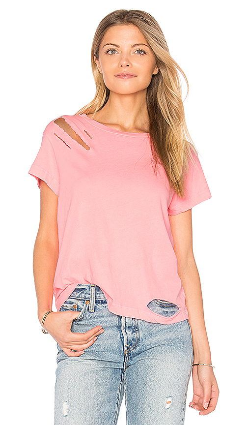 Wildfox Couture Destroyed Tee in Pink