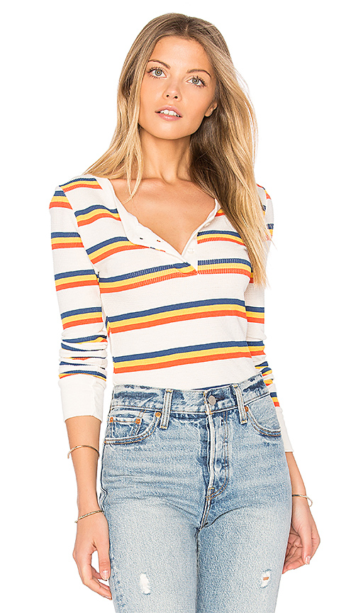 Wildfox Couture Cabin Stripes Bodysuit in Ivory
