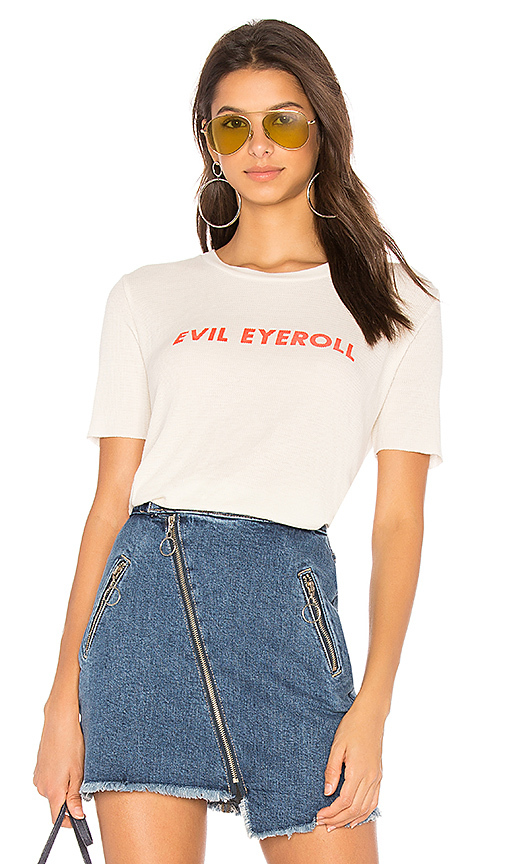 Wildfox Couture Evil Eyeroll Tee in Ivory