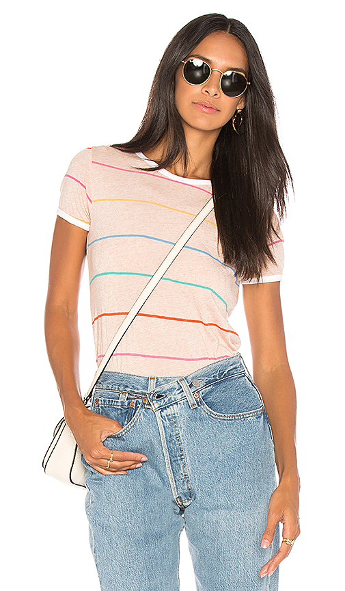 Wildfox Couture Tennis Stripe Tee in Peach