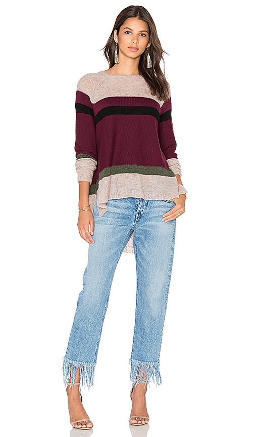 Wilt Blocked Stripe Shifted Sweater in Burgundy. - size L (also in M,S)