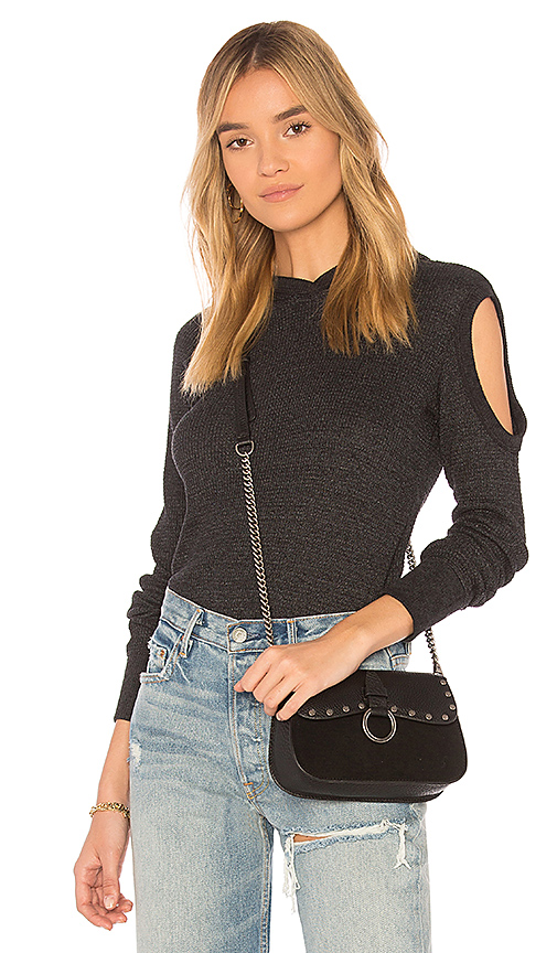 Wilt Cold Shoulder Hoodie Long Sleeve Tee in Black. - size XS (also in L,M,S)