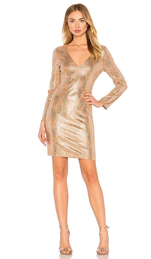 WYLDR Eveline Mini Dress in Metallic Silver