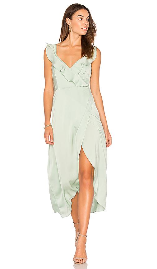WYLDR Heartbreak Hotel Wrap Maxi Dress in Green. - size M (also in XS)