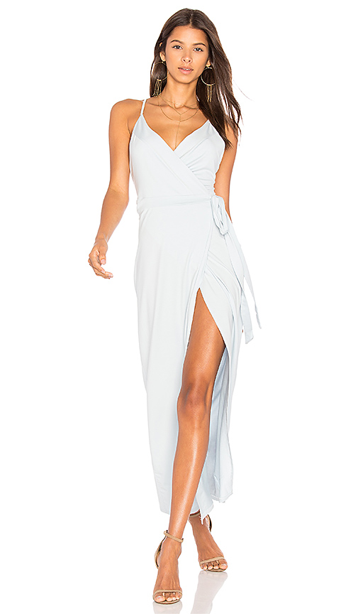 WYLDR Wrap Over Me Maxi Dress in Baby Blue. - size L (also in M,S,XS)