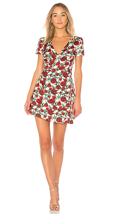 WYLDR Cherry Wine Wrap Dress in White
