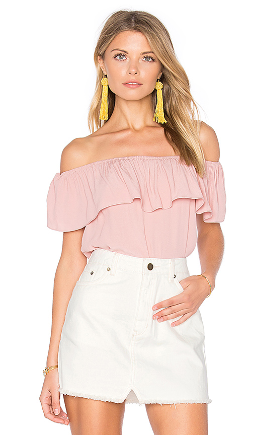 WYLDR Indie Summer Off Shoulder Top in Blush