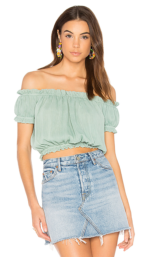 WYLDR Wildfire Off The Shoulder Top in Mint