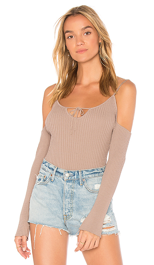 WYLDR Iron Sky Cold Shoulder Bodysuit in Taupe