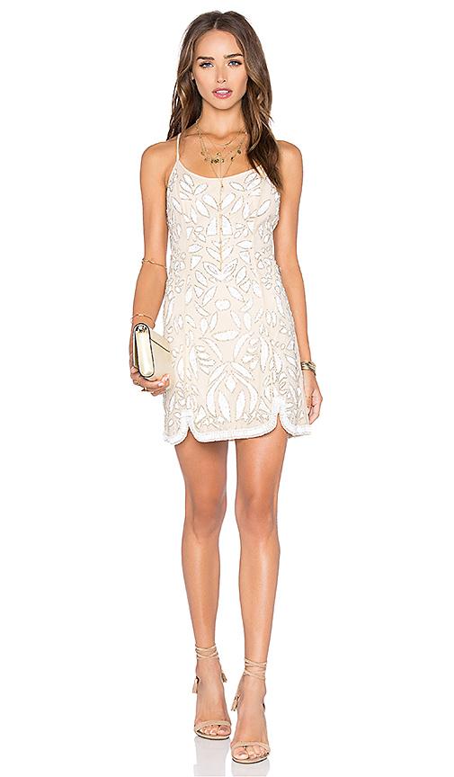 X by NBD Madeline Dress in Beige