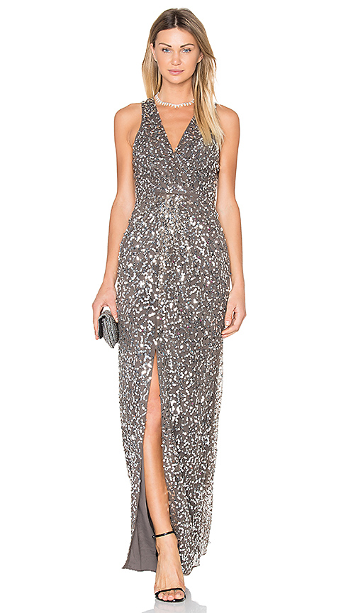 X by NBD Genevieve Gown in Metallic Silver