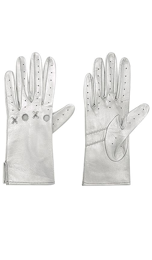 Yestadt Millinery XOXO Driving Gloves in Metallic Silver