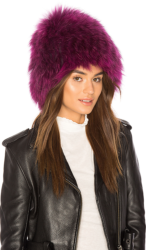 Yestadt Millinery x REVOLVE Le Fluff Raccoon Fur Beanie in Purple