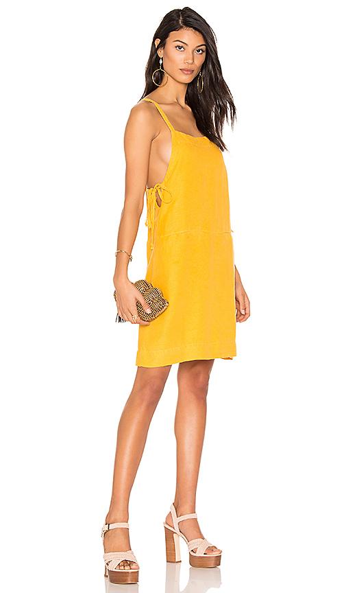 YORK street Bib Slip Dress with Ties in Yellow