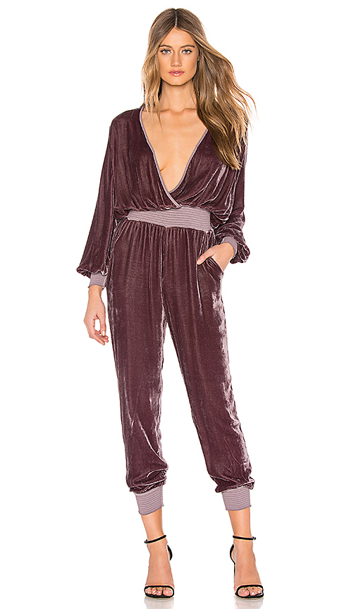 YOUNG FABULOUS & BROKE CLOTHING   Young, Fabulous & Broke Ambrosia Velvet Jumpsuit In Purple. - Size XS (Also In L,M,S)   Goxip
