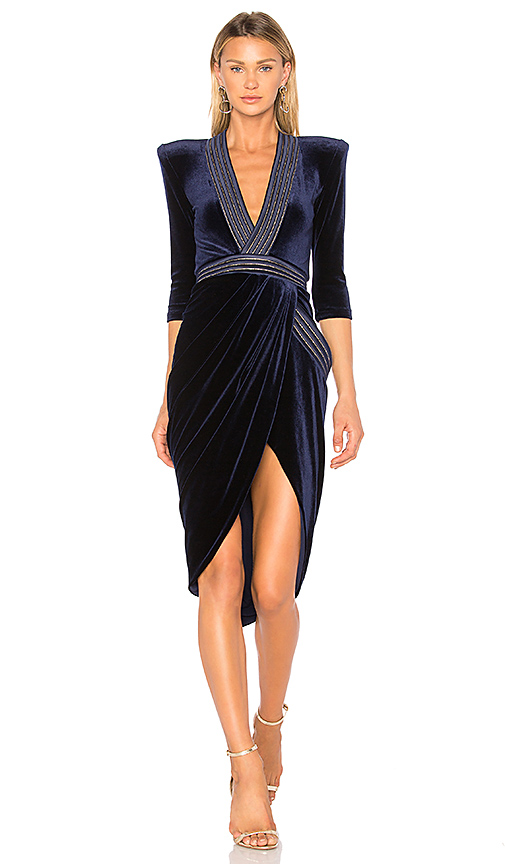 Zhivago Eye Of Horus Velvet Dress in Navy