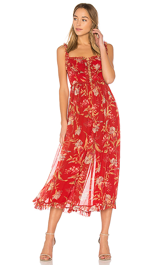 Zimmermann Corsair Iris Corset Jumpsuit in Red