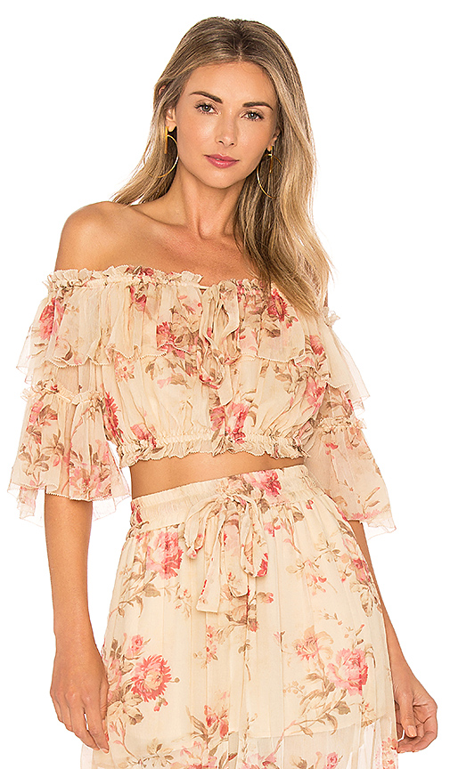 Zimmermann X REVOLVE Prima Cherry Crop Top in Cream
