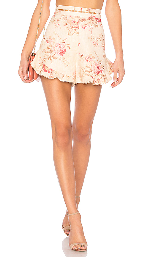 Zimmermann Corsair Flutter Short in Cream